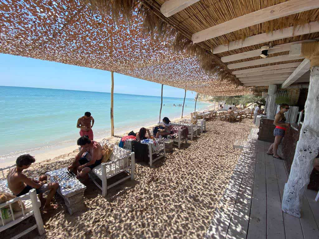Desert Camo Netting At Beach bar in Spain